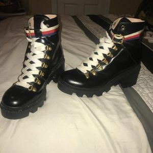 Gucci Sylvie Webb Leather Boot